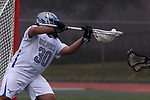 Nick Tuccillo goalie for Holmdel High School tries to catch the shot on goal by a Souther Regional player as Holmdel takes on Southern Regional in a boys varsity lacrosse game held at Roggy Field at Holmdel High School in Holmdel on Thursday March 29, 2018.<br />  Mark R. Sullivan | For NJ Advance Media