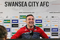 Manager Carlos Carvalhal speaks to members of the press during the Swansea City Training and Press Conference at The Fairwood Training Ground, Swansea, Wales, UK. Thursday 08 February 2018