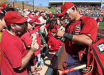 Diamondbacks outfielder Gerardo Parra signs autographs before a Cactus League preseason game between the San Francisco Giants and the Arizona Diamondbacks in Scottsdale, Ariz., on Sunday, March 4, 2012. .Photo by Cathleen Allison