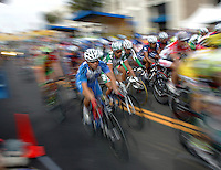 The peloton, in a blur of speed in the Tour of California cycling race in Redondo Beach, Calif., Sunday, Feb. 26, 2006. The race concluded on Sunday. The overall winner is Floyd Landis of the United States.
