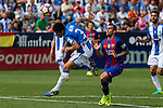 Club Deportivo Leganes's Unai Bustinza FC Barcelona's Paco Alcacer during the match of La Liga between Club Deportivo Leganes and Futbol Club Barcelona at Butarque Estadium in Leganes. September 17, 2016. (ALTERPHOTOS/Rodrigo Jimenez)