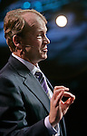 Cisco Systems CEO John Chambers gestures during a keynote address at the Oracle Open World conference in San Francisco, Tuesday, Oct. 24, 2006. Networking gear maker Cisco Systems Inc. is scheduled to report first-quarter earnings after the market closes. Analysts surveyed by Thomson Financial are expecting the San Jose-based company to report earnings of 29 cents per share on $7.9 billion in revenues. (AP Photo/Paul Sakuma)