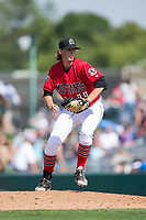 Billings Mustangs relief pitcher Connor Ryan (39) in action against the Missoula Osprey at Dehler Park on August 20, 2017 in Billings, Montana.  The Osprey defeated the Mustangs 6-4.  (Brian Westerholt/Four Seam Images)