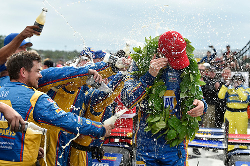 Verizon IndyCar Series<br /> IndyCar Grand Prix at the Glen<br /> Watkins Glen International, Watkins Glen, NY USA<br /> Sunday 3 September 2017<br /> Alexander Rossi, Curb Andretti Herta Autosport with Curb-Agajanian Honda celebrates the win with team in victory lane.<br /> World Copyright: Scott R LePage<br /> LAT Images<br /> ref: Digital Image lepage-170903-wg-7865