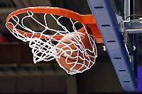 DUKE, NC - FEBRUARY 15: A Duke University basketball rips through the net during a game between Notre Dame and Duke at Cameron Indoor Stadium on February 15, 2020 in Duke, North Carolina.