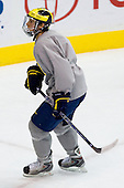 Carl Hagelin (Michigan 12) takes part in the Wolverines' morning skate at the Xcel Energy Center in St. Paul, Minnesota, on Friday, October 12, 2007, during the Ice Breaker Invitational.