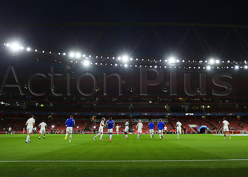 28.09.2016. Emirates Stadium, London, England. UEFA Champions League Football. Arsenal versus FC Basel. Basel players make their way onto the pitch for warm up
