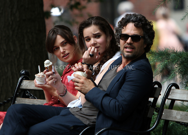 WWW.ACEPIXS.COM . . . . .  ....July 18 2012, New York City....Keira Knightley, Hailee Steinfeld and Mark Ruffalo on the set of the new movie 'Can a song save your life' on July 18 2012 in New York City....Please byline: Zelig Shaul - ACE PICTURES.... *** ***..Ace Pictures, Inc:  ..Philip Vaughan (212) 243-8787 or (646) 769 0430..e-mail: info@acepixs.com..web: http://www.acepixs.com