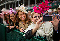 LOUISVILLE, KY - MAY 05: Spectators take a photo of the track on Kentucky Oaks Day at Churchill Downs on May 5, 2017 in Louisville, Kentucky. (Photo by Scott Serio/Eclipse Sportswire/Getty Images)
