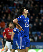 Leicester City's Harry Maguire frustrated at missing a chance at goal<br /> <br /> Photographer Hannah Fountain/CameraSport<br /> <br /> The Premier League - Leicester City v Manchester United - Sunday 3rd February 2019 - King Power Stadium - Leicester<br /> <br /> World Copyright © 2019 CameraSport. All rights reserved. 43 Linden Ave. Countesthorpe. Leicester. England. LE8 5PG - Tel: +44 (0) 116 277 4147 - admin@camerasport.com - www.camerasport.com