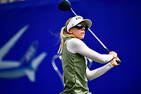 Pernilla Lindberg of Sweden plays her shot from the first tee during the final round of the ANA Inspiration at the Mission Hills Country Club in Palm Desert, California, USA. 4/1/18.<br /> <br /> Picture: Golffile | Bruce Sherwood<br /> <br /> <br /> All photo usage must carry mandatory copyright credit (&copy; Golffile | Bruce Sherwood)