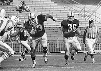 Gene Upshaw, head of the National Football League Players Union who died Aug 21, 2008. Pictured here while playing for the Oakland Raiders leading the blocking for running back Clem Daniels. ( 1968. .Photo by Ron Riesterer)