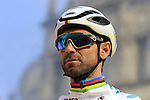 World Champion Alejandro Valverde (ESP) Movistar Team at the team presentation in Antwerp before the start of the 2019 Ronde Van Vlaanderen 270km from Antwerp to Oudenaarde, Belgium. 7th April 2019.<br /> Picture: Eoin Clarke | Cyclefile<br /> <br /> All photos usage must carry mandatory copyright credit (&copy; Cyclefile | Eoin Clarke)
