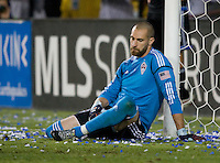 Rapids goalkeeper Matt Pickens disappoints after allowing a goal during the game against Earthquakes at Buck Shaw Stadium in Santa Clara, California on August 25th, 2012.   San Jose Earthquakes defeated Colorado Rapids, 4-1.