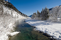 Germany, Bavaria, Upper Bavaria, Winter in Werdenfelser Land: river Isar at Upper Isar Valley