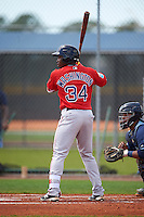Boston Red Sox Kyri Washington (34) during a minor league Spring Training game against the Tampa Bay Rays on March 23, 2016 at Charlotte Sports Park in Port Charlotte, Florida.  (Mike Janes/Four Seam Images)