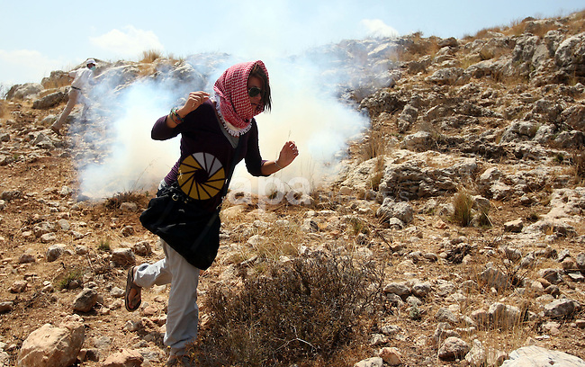 Palestinian protester waves a flag as smoke from tear gas canisters fired by Israeli security forces rises during clashes at a protest against a nearby Jewish settlement, in the West Bank village of Nabi Saleh, near Ramallah August 31, 2012. Photo by Issam Rimawi
