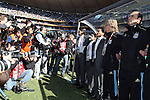 17 JUN 2010:  International photographers converge on Argentina head coach Diego Maradona (fourth from right) during team introductions.  The Argentina National Team defeated the South Korea National Team 4-1 at Soccer City Stadium in Johannesburg, South Africa in a 2010 FIFA World Cup Group E match.
