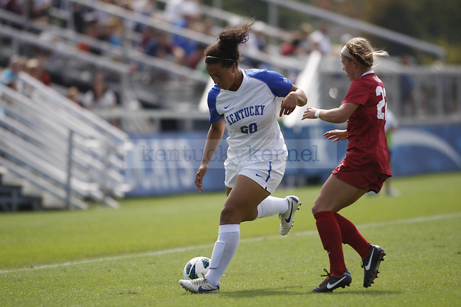 UK freshman midfielder Cailin Harris runs for the ball in the UK women's soccer game against Alabama on Sept. 30, 2012. UK lost 2-1 in overtime. Photo by Becca Clemons | Staff