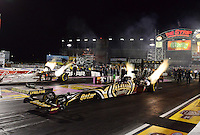 Oct. 26, 2012; Las Vegas, NV, USA: NHRA top fuel dragster driver Khalid Albalooshi during qualifying for the Big O Tires Nationals at The Strip in Las Vegas. Mandatory Credit: Mark J. Rebilas-