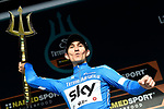 Race leader Michal Kwiatkowski (POL) Team Sky overall winner after Stage 7 of the 53rd edition of the Tirreno-Adriatico 2018 a 10km individual time trial around San Benedetto del Tronto, Italy. 13th March 2018.<br /> Picture: LaPresse/Fabio Ferrari | Cyclefile<br /> <br /> <br /> All photos usage must carry mandatory copyright credit (&copy; Cyclefile | LaPresse/Fabio Ferrari)