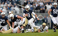 STATE COLLEGE, PA - SEPTEMBER 02:  Penn State QB Trace McSorley (9) runs with the ball downfield after faking a handoff to Barkley. The Penn State Nittany Lions defeated the Akron Zips 52-0 on September 2, 2017 at Beaver Stadium in State College, PA. (Photo by Randy Litzinger/Icon Sportswire)
