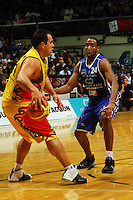 Ernest Scott marks Pero Cameron during game two of the NBL Final basketball match between the Wellington Saints and Waikato Pistons at TSB Bank Arena, Wellington, New Zealand on Friday 20 June 2008. Photo: Dave Lintott / lintottphoto.co.nz