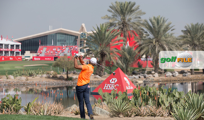 Between a rock and a hard place, Joakim Lagergren (SWE) finds the sandy ground right of the 18th during the recommencement of Round Two of the 2016 Abu Dhabi HSBC Golf Championship, played on the Abu Dhabi National Golf Course, Abu Dhabi, United Arab Emirates.  23/01/2016. Picture: Golffile | David Lloyd<br /> <br /> All photos usage must carry mandatory copyright credit (&copy; Golffile | David Lloyd)