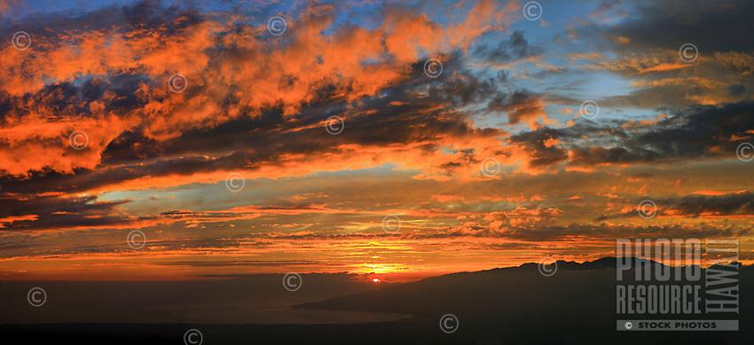 Sunset from Kula, Maui, Hawaii.