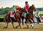 ELMONT, NY - JUNE 09: Jock Mike Smith kisses #1, Justify, the newly minted Triple Crown Winner during the 150th running of the Belmont Stakes at Belmont Park on June 9, 2018 in Elmont, New York. (Photo by Carson Dennis/Eclipse Sportswire/Getty Images)