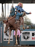 Caine Riddle competes in the bareback bronc riding event at the Reno Rodeo, in Reno, Nev. on Friday night, June 22, 2012..Photo by Cathleen Allison