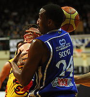 Ernest Scott fumbles a pass during game two of the NBL Final basketball match between the Wellington Saints and Waikato Pistons at TSB Bank Arena, Wellington, New Zealand on Friday 20 June 2008. Photo: Dave Lintott / lintottphoto.co.nz