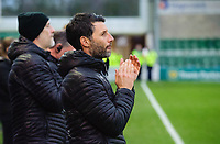 Lincoln City manager Danny Cowley during a minutes applause in memory of Kevin Austin<br /> <br /> Photographer Chris Vaughan/CameraSport<br /> <br /> The Emirates FA Cup Second Round - Lincoln City v Carlisle United - Saturday 1st December 2018 - Sincil Bank - Lincoln<br />  <br /> World Copyright © 2018 CameraSport. All rights reserved. 43 Linden Ave. Countesthorpe. Leicester. England. LE8 5PG - Tel: +44 (0) 116 277 4147 - admin@camerasport.com - www.camerasport.com