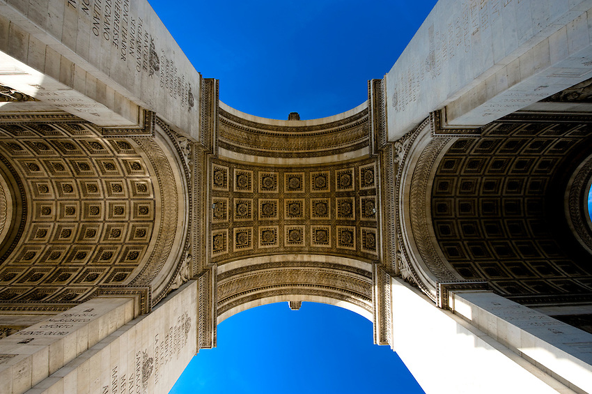 The arches of the Arc de Triomphe viewed from the ground.