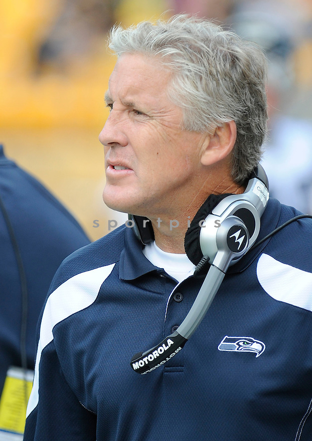 PETE CARROLL, of the Seattle Seahawks, in action during the Seahawks game against the Pittsburgh Steelers on September 18, 2011 at Heinz Field in Pittsburgh, PA. The Steelers beat the Seahawks 24-0.