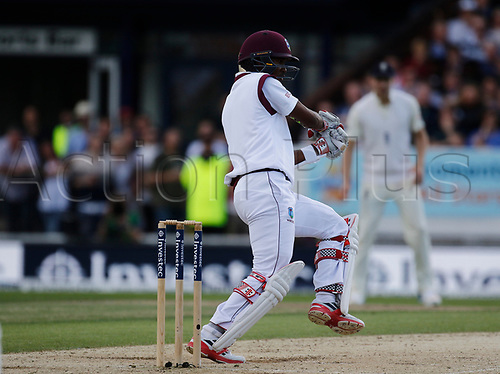 26th August 2017, Headingley, Leeds, England; International Test Match Series, Day 2; England versus West Indies; Kraigg Brathwaite anchored the West Indies response on the second day