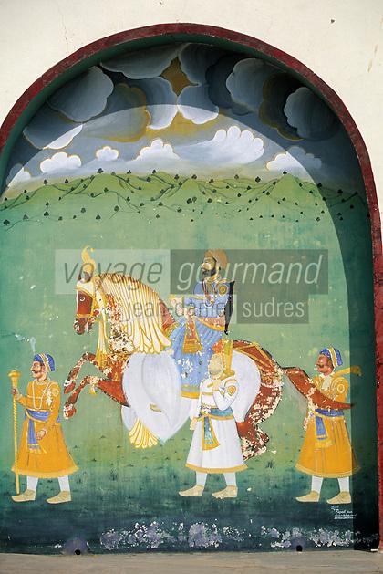 """Asie/Inde/Rajasthan/Udaipur: Le """"City Palace"""" palais du roi sur le lac Pichola (D'une longueur de près de 500M, ce vaste ensemble de marbre et de granit fut érigé à partir du règne d'Udai Singh (1537-1572) fondateur de la ville) - Détail peinture de mariage représentant un cheval symbole de puissance"""
