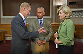 NASA Administrator Charles Bolden, center, talks with United States Senators Bill Nelson (Democrat of Florida), left, and Kay Bailey Hutchison (Republican of Texas), right, following the announcement of a design of a new Space Launch System at a press conference, Wednesday, September 14, 2011, at the Dirksen Senate Office Building on Capitol Hill in Washington. The new system will take the agency's astronauts farther into space than ever before, create high-quality jobs here at home, and provide the cornerstone for America's future human space exploration efforts..Mandatory Credit: Paul E. Alers / NASA via CNP