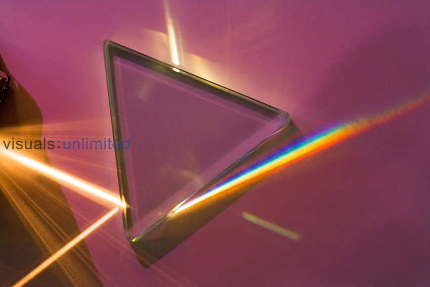 Light passing through a glass prism separating it into a spectrum