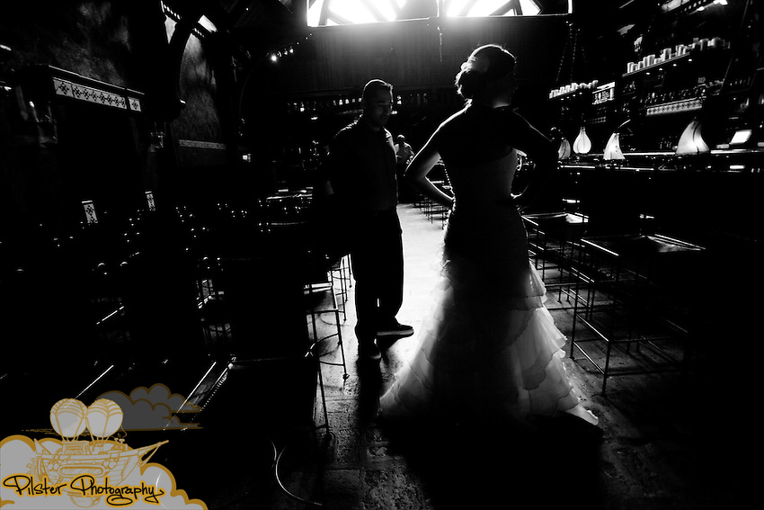 Amanda Adler and Derrick Paladino during their wedding on Sunday, September 4, 2011, at Ceviche Tapas Bar and Restaurant in Orlando, Florida. They got ready at the Embassy Suites. The entire wedding had a Rock n' Roll theme. (Willie J. Allen, Jr. for Pilster Photography http://www.PilsterPhotography.net)