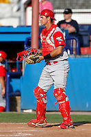 Williamsport Crosscutters catcher Bob Stumpo #50 during the first game of a doubleheader against the Batavia Muckdogs at Dwyer Stadium on August 23, 2011 in Batavia, New York.  Batavia defeated Williamsport 2-1.  (Mike Janes/Four Seam Images)