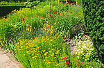 Attractive flowering plant border in Sissinghurst castle gardens, Kent, England, UK