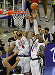 USA's Tyson Chandler (l) and LeBron James (r) and Argentina's Juan Gutierrez (b) during friendly match.July 22,2012. (ALTERPHOTOS/Acero)