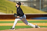 Jack Fischer #15 of the Wake Forest Demon Deacons delivers a pitch to the plate during an intrasquad game at Wake Forest Baseball Park on January 29, 2012 in Winston-Salem, North Carolina.  (Brian Westerholt / Four Seam Images)