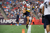 July 30, 2018: New England Patriots wide receiver Julian Edelman (11) warms up before practice at the New England Patriots training camp held at Gillette Stadium, in Foxborough, Massachusetts. Eric Canha/CSM
