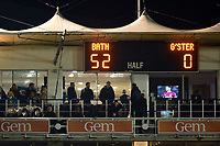 A general view of the score board at the final whistle. Premiership Rugby Cup match, between Bath Rugby and Gloucester Rugby on February 3, 2019 at the Recreation Ground in Bath, England. Photo by: Patrick Khachfe / Onside Images