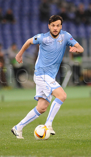 25.02.2016. Stadio Olimpico, Rome, Italy. Uefa Europa League, Return leg of SS Lazio versus Galatasaray. Marco Parolo in action