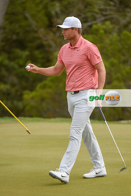 Lucas Bjerregaard (DEN) after sinking his putt on 2 during day 2 of the WGC Dell Match Play, at the Austin Country Club, Austin, Texas, USA. 3/28/2019.<br /> Picture: Golffile   Ken Murray<br /> <br /> <br /> All photo usage must carry mandatory copyright credit (© Golffile   Ken Murray)