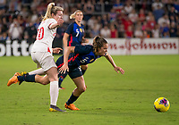 5th March 2020, Orlando, Florida, USA;  the United States defender Kelley O'Hara (5) is fouled by England forward Lauren Hemp (20) during the Women's SheBelieves Cup soccer match between the USA and England on March 5, 2020 at Exploria Stadium in Orlando, FL.