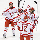 Vinny Saponari (BU - 27), Colby Cohen (BU - 25), Chris Connolly (BU - 12), Kevin Shattenkirk (BU - 3), Nick Bonino (BU - 13) - The Boston University Terriers defeated the Merrimack College Warriors 6-4 (EN) on Saturday, January 16, 2010, at Agganis Arena in Boston, Massachusetts.